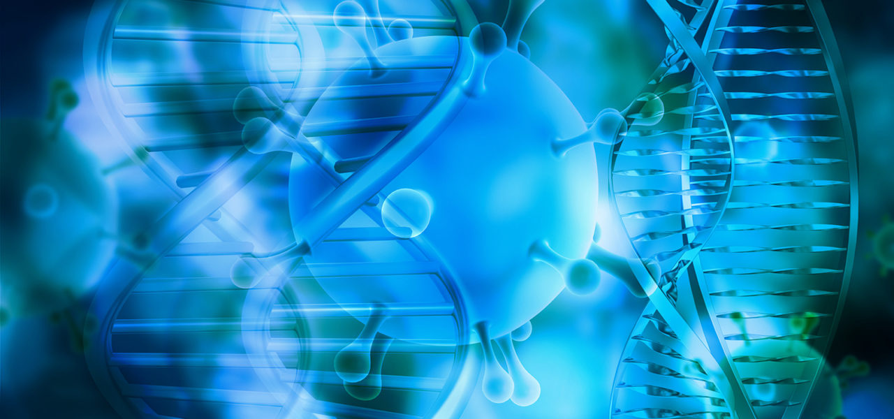 3D render of a medical background with DNA strands and virus cells